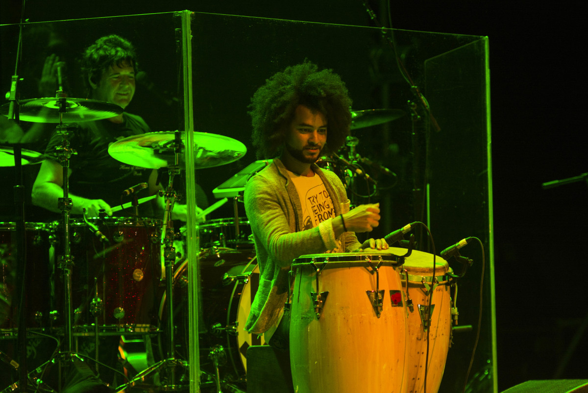 Clem Burke (left) and percussionist Degnis Bofill onstage at Havana's Teatro Mella.