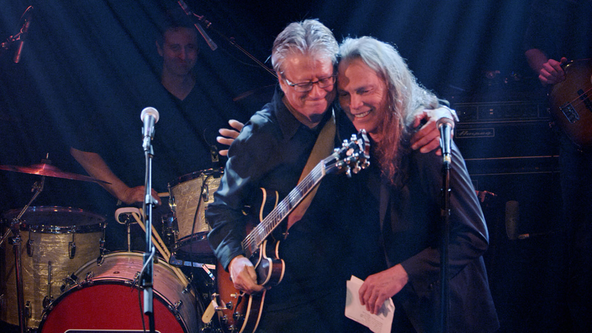 Richie Furay andTimothy B. Schmit onstage togetherduring the Troubadour's Deliverin' performance.Publicity photo.