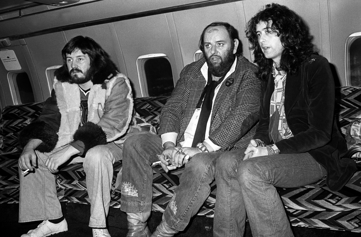 Bonham and Page with Peter Grant (middle). Photo by Neal Preston.