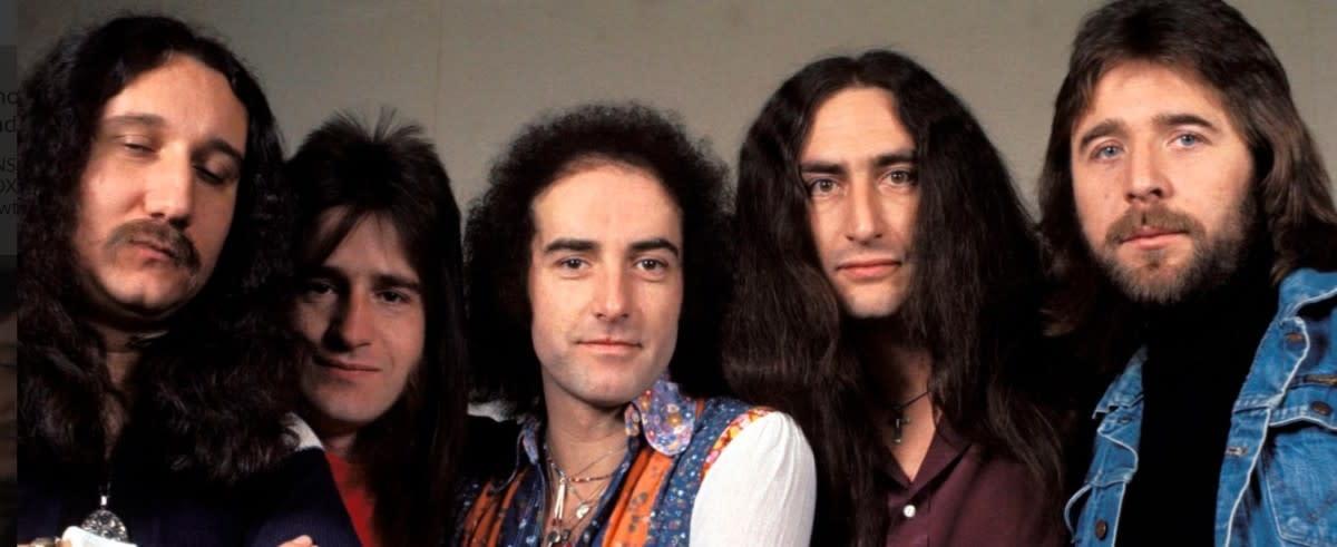Late 1970s Uriah Heep: Mick Box, Trevor Bolder, John Lawton, Ken Hensley and Lee Kerslake, photo Fin Costello/Redferns, Getty Images