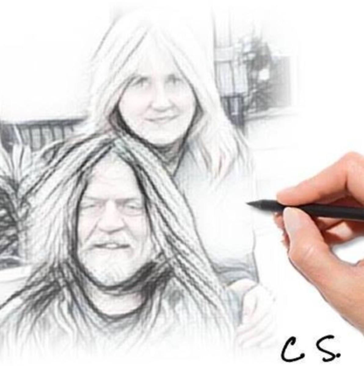 Robby and Cindy Steinhardt sketch, courtesy of Cindy Steinhardt, Facebook