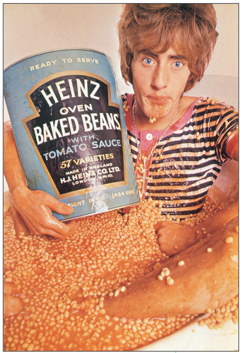For part of the cover image of The Who Sell Out, Roger Daltrey sat in a bathtub of cold baked beans for over an hour. Image provided by UMe.