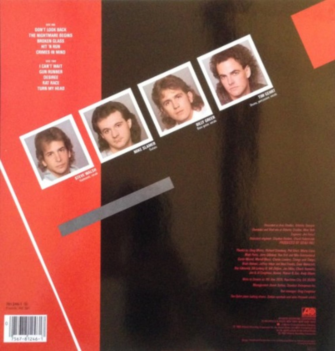 """Streets' second album """"Crimes in Mind"""" liner, 1985, with the original """"Broken Glass"""""""