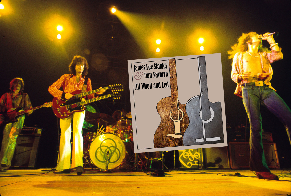 """Led Zeppelin in their heyday and the tribute album """"All Wood and Led."""" Getty Images"""